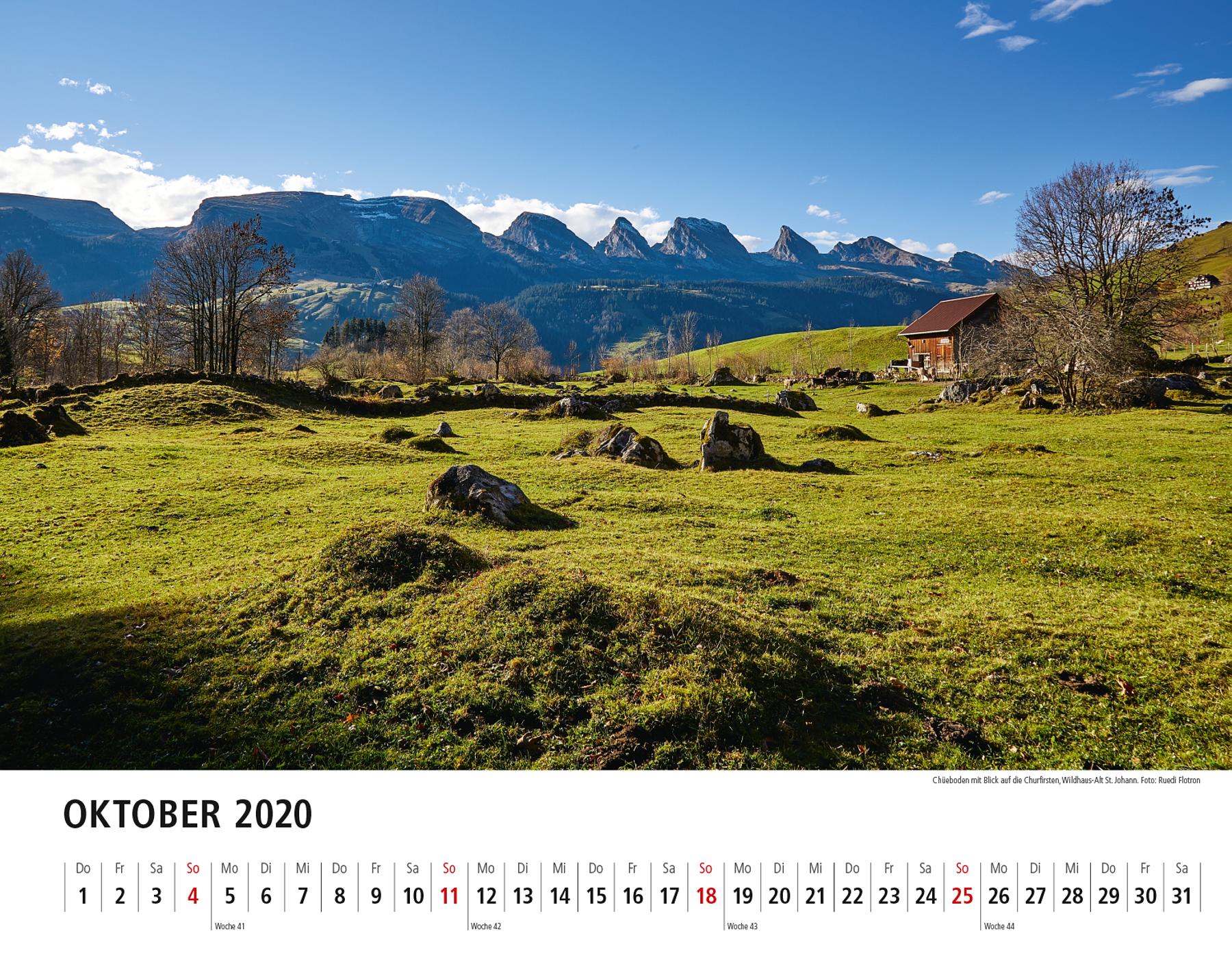 Toggenburger Bildkalender 2020 Oktober