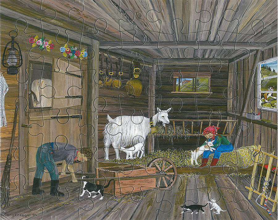 Puzzle Weisse Ziege im Stall