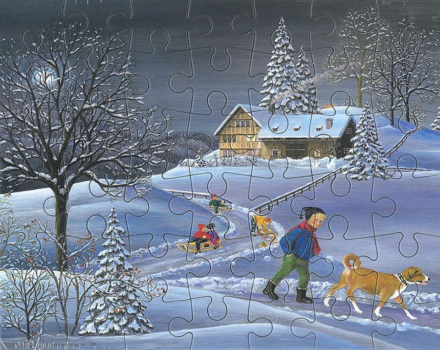 Puzzle Abend im Schnee mit Hund