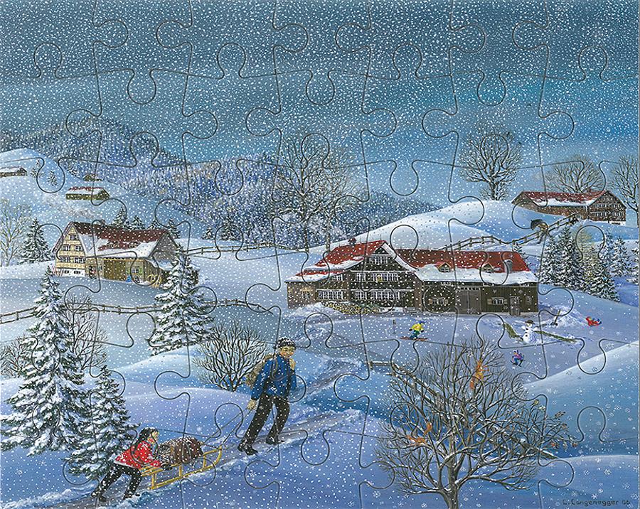 Puzzle Winter mit Schnee