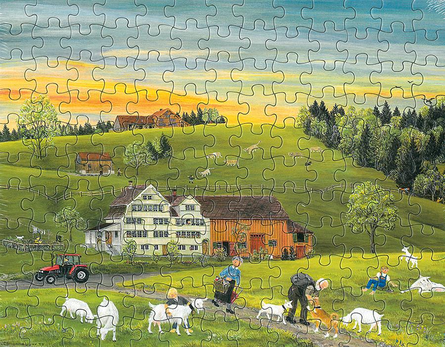 Puzzle Weisse Ziegen/Sonnenaufgang