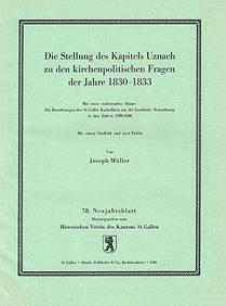 Die Stellung des Kapitels Uznach zu den kirchenpolitischen Fragen der Jahre 1830-1833