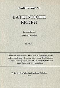 Lateinische Reden Joachim Vadian